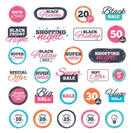 ten best: Sale shopping stickers and banners. Sale discount icons. Special offer stamp price signs. 10, 20, 25 and 30 percent off reduction symbols. Website badges. Black friday. Vector