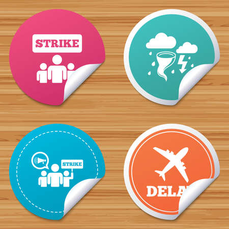 bended: Round stickers or website banners. Strike icon. Storm bad weather and group of people signs. Delayed flight symbol. Circle badges with bended corner. Vector Illustration