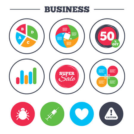 inoculation: Business pie chart. Growth graph. Bug and vaccine syringe injection icons. Heart and caution with exclamation sign symbols. Super sale and discount buttons. Vector Illustration