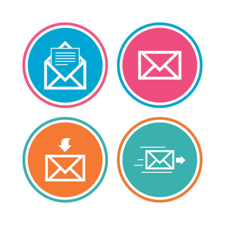 outbox: Mail envelope icons. Message document delivery symbol. Post office letter signs. Inbox and outbox message icons. Colored circle buttons. Vector
