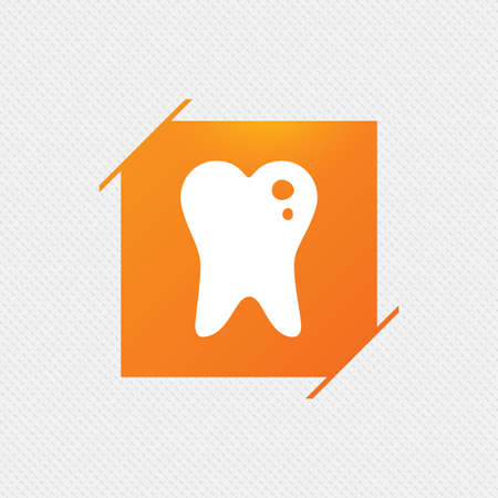 Caries tooth icon. Tooth filling sign. Dental care symbol. Orange square label on pattern. Vector