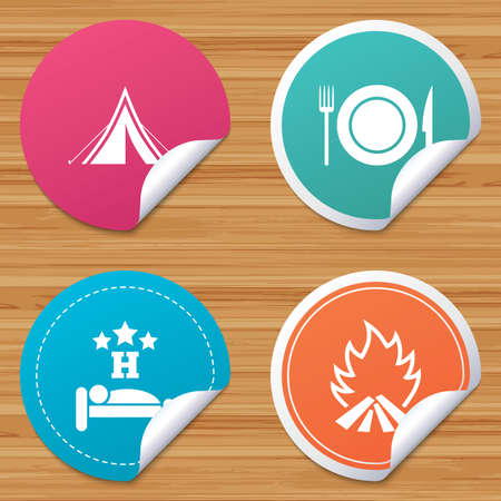 breakfast in bed: Round stickers or website banners. Food, sleep, camping tent and fire icons. Knife, fork and dish. Hotel or bed and breakfast. Road signs. Circle badges with bended corner. Vector