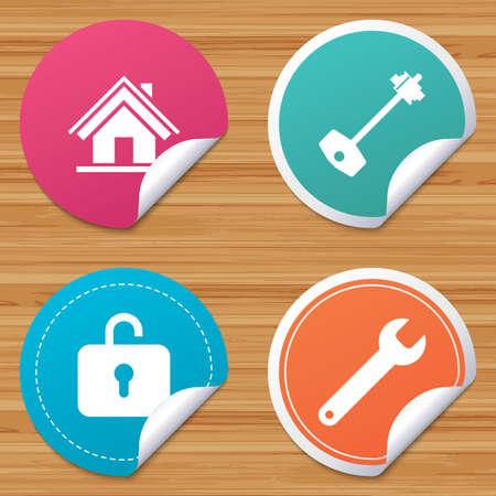 bended: Round stickers or website banners. Home key icon. Wrench service tool symbol. Locker sign. Main page web navigation. Circle badges with bended corner. Vector