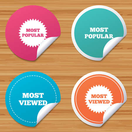 bended: Round stickers or website banners. Most popular star icon. Most viewed symbols. Clients or customers choice signs. Circle badges with bended corner. Vector