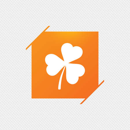 Clover with three leaves sign icon. Trifoliate clover. Saint Patrick trefoil symbol. Orange square label on pattern. Vector Illustration