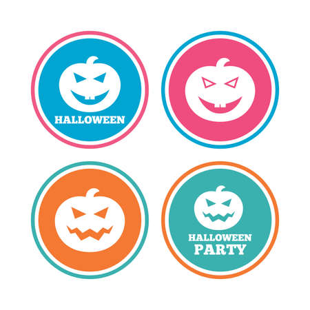 hallows: Halloween pumpkin icons. Halloween party sign symbol. All Hallows Day celebration. Colored circle buttons. Vector