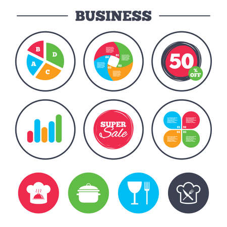 discount buttons: Business pie chart. Growth graph. Chief hat and cooking pan icons. Crosswise fork and knife signs. Boil or stew food symbols. Super sale and discount buttons. Vector