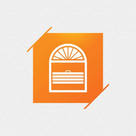 jalousie: Louvers plisse sign icon. Window blinds or jalousie symbol. Orange square label on pattern. Vector