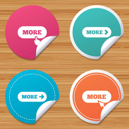 bended: Round stickers or website banners. More with cursor pointer icon. Details with arrow or hand symbols. Click more sign. Circle badges with bended corner. Vector