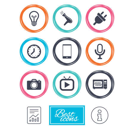 Home appliances, device icons. Electronics signs. Lamp, electrical plug and photo camera symbols. Report document, information icons. Vector Illustration