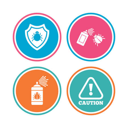 acarus: Bug disinfection icons. Caution attention and shield symbols. Insect fumigation spray sign. Colored circle buttons. Vector