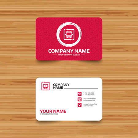 card stop: Business card template with texture. Bus shuttle icon. Public transport stop symbol. Phone, web and location icons. Visiting card  Vector
