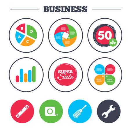 discount buttons: Business pie chart. Growth graph. Screwdriver and wrench key tool icons. Bubble level and tape measure roulette sign symbols. Super sale and discount buttons. Vector Illustration