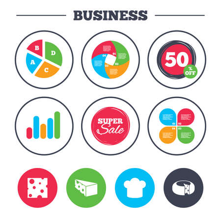 discount buttons: Business pie chart. Growth graph. Cheese icons. Round cheese wheel sign. Sliced food with chief hat symbols. Super sale and discount buttons. Vector