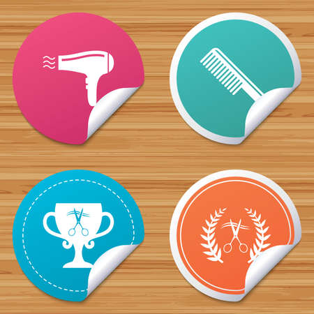 comb hair: Round stickers or website banners. Hairdresser icons. Scissors cut hair symbol. Comb hair with hairdryer symbol. Barbershop laurel wreath winner award. Circle badges with bended corner. Vector