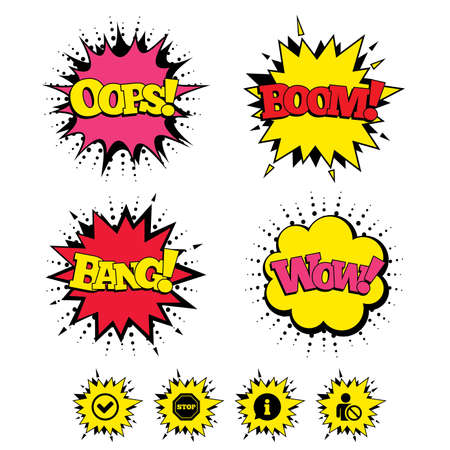 blacklist: Comic Boom, Wow, Oops sound effects. Information icons. Stop prohibition and user blacklist signs. Approved check mark symbol. Speech bubbles in pop art. Vector