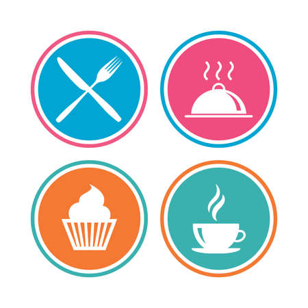 Food and drink icons. Muffin cupcake symbol. Fork and knife sign. Hot coffee cup. Food platter serving. Colored circle buttons. Vector