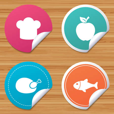 bended: Round stickers or website banners. Food icons. Apple fruit with leaf symbol. Chicken hen bird meat sign. Fish and Chef hat icons. Circle badges with bended corner. Vector