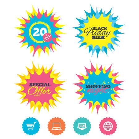 Shopping night, black friday stickers. Online shopping icons. Notebook pc, shopping cart, buy now arrow and internet signs. WWW globe symbol. Special offer. Vector