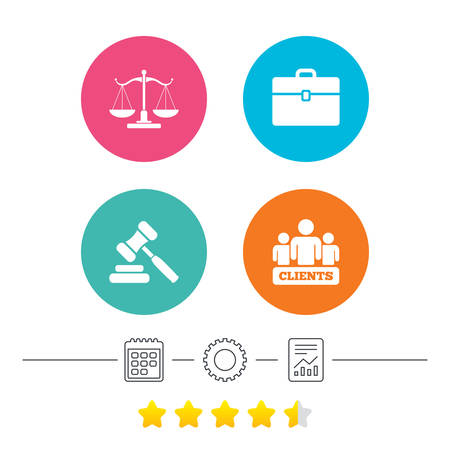 law report: Scales of Justice icon. Group of clients symbol. Auction hammer sign. Law judge gavel. Court of law. Calendar, cogwheel and report linear icons. Star vote ranking. Vector