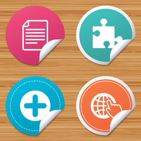 puzzle corners: Round stickers or website banners. Plus add circle and puzzle piece icons. Document file and globe with hand pointer sign symbols. Circle badges with bended corner. Vector
