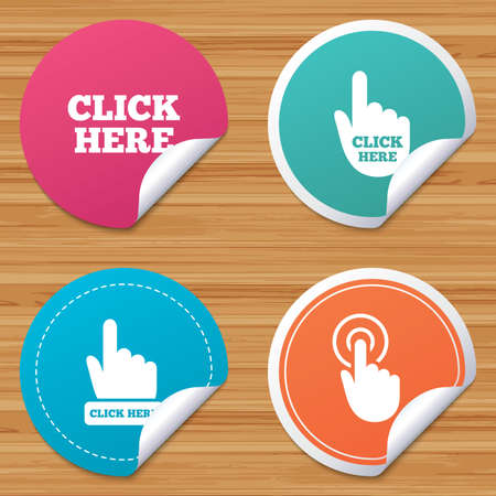 bended: Round stickers or website banners. Click here icons. Hand cursor signs. Press here symbols. Circle badges with bended corner. Vector Illustration