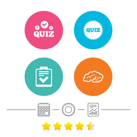 report form: Quiz icons. Human brain think. Checklist symbol. Survey poll or questionnaire feedback form. Questions and answers game sign. Calendar, cogwheel and report linear icons. Star vote ranking. Vector