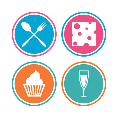 Food icons. Muffin cupcake symbol. Fork and spoon sign. Glass of champagne or wine. Slice of cheese. Colored circle buttons. Vector