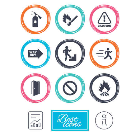 burn out: Fire safety, emergency icons. Fire extinguisher, exit and attention signs. Caution, water drop and way out symbols. Report document, information icons. Vector Illustration