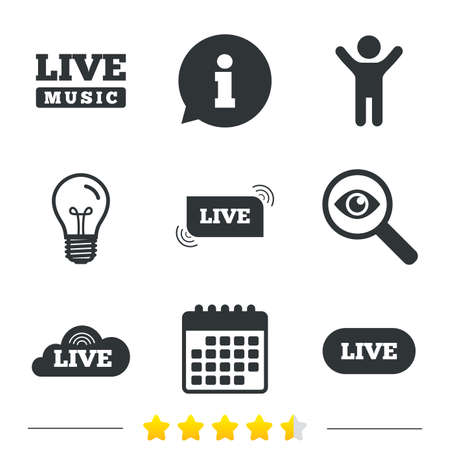 live stream music: Live music icons. Karaoke or On air stream symbols. Cloud sign. Information, light bulb and calendar icons. Investigate magnifier. Vector