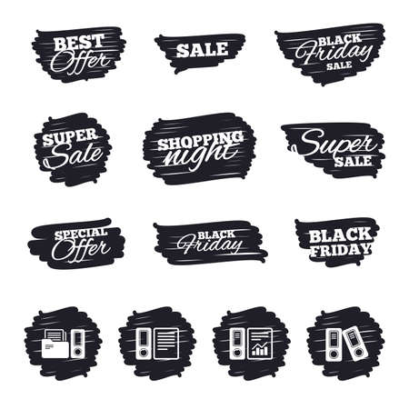accountancy: Ink brush sale stripes and banners. Accounting report icons. Document storage in folders sign symbols. Black friday. Ink stroke. Vector Illustration