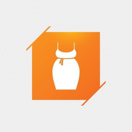 big breast: Pregnant woman dress sign icon. Maternity clothing symbol Orange square label on pattern. Vector Illustration