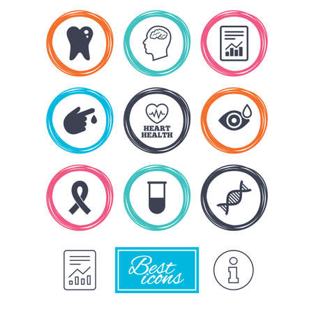 neurology: Medicine, medical health and diagnosis icons. Blood test, dna and neurology signs. Tooth, report symbols. Report document, information icons. Vector Illustration