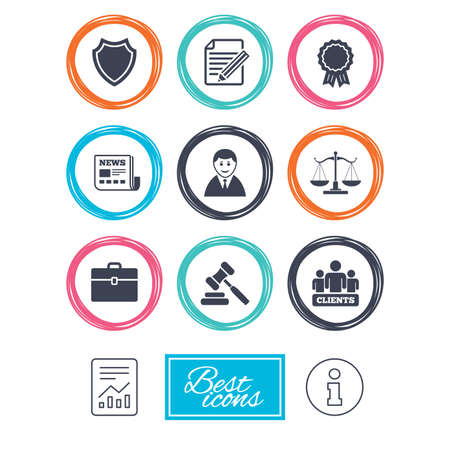 law report: Lawyer, scales of justice icons. Clients, auction hammer and law judge symbols. Newspaper, award and agreement document signs. Report document, information icons. Vector Illustration