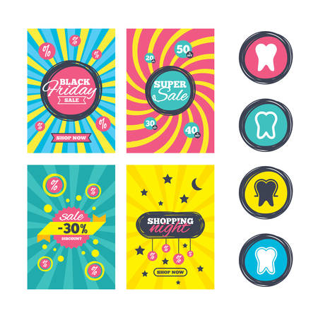 enamel: Sale website banner templates. Tooth enamel protection icons. Dental care signs. Healthy teeth symbols. Ads promotional material. Vector Illustration