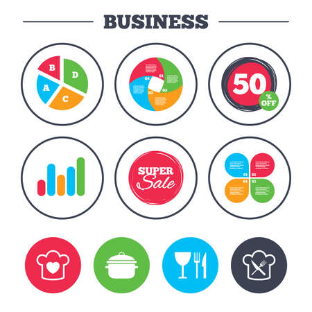 crosswise: Business pie chart. Growth graph. Chief hat with heart and cooking pan icons. Crosswise fork and knife signs. Boil or stew food symbol. Super sale and discount buttons. Vector