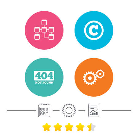 Website database icon. Copyrights and gear signs. 404 page not found symbol. Under construction. Calendar, cogwheel and report linear icons. Star vote ranking. Vector Illustration