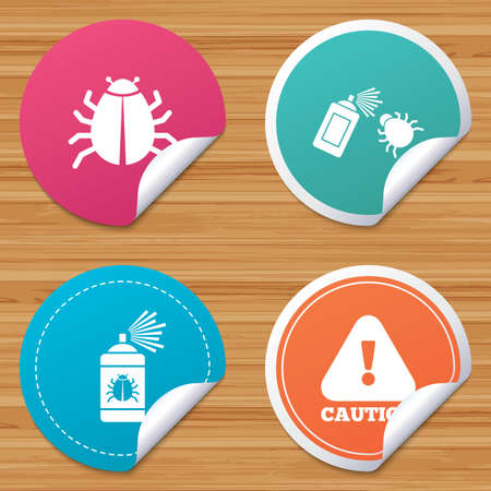 bended: Round stickers or website banners. Bug disinfection icons. Caution attention symbol. Insect fumigation spray sign. Circle badges with bended corner. Vector