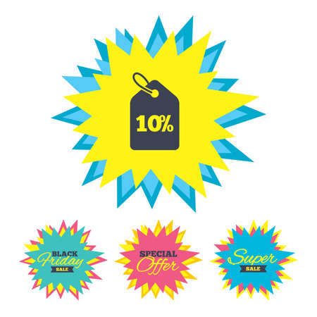 Sale stickers and banners. 10% sale price tag sign icon. Discount symbol. Special offer label. Star labels. Vector