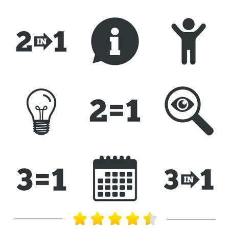 Special offer icons. Take two pay for one sign symbols. Profit at saving. Information, light bulb and calendar icons. Investigate magnifier. Vector