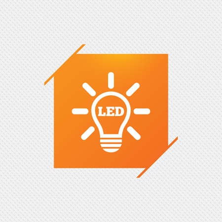 led light: Led light lamp icon. Energy symbol. Orange square label on pattern. Vector Illustration