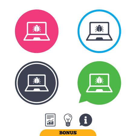 Laptop virus sign icon. Notebook software bug symbol. Report document, information sign and light bulb icons. Vector