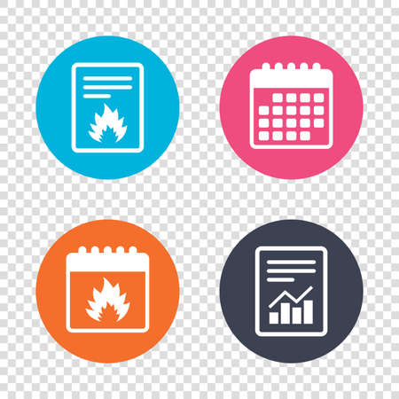 escape: Report document, calendar icons. Fire flame sign icon. Heat symbol. Stop fire. Escape from fire. Transparent background. Vector