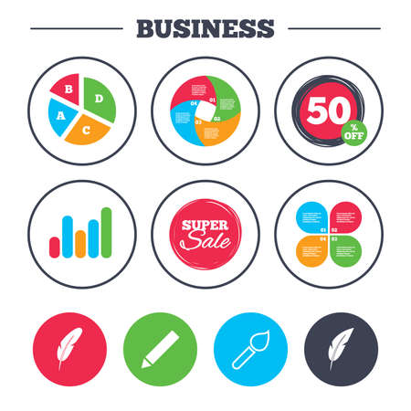 discount buttons: Business pie chart. Growth graph. Feather retro pen icons. Paint brush and pencil symbols. Artist tools signs. Super sale and discount buttons. Vector Illustration