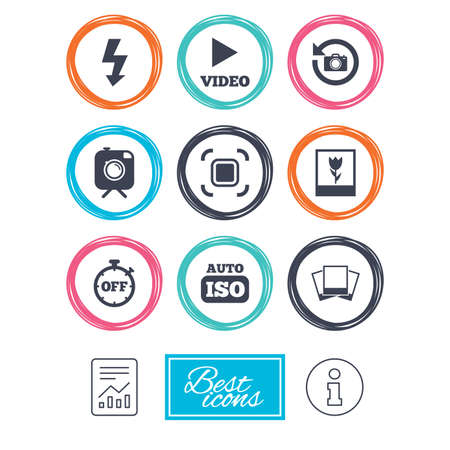 auto focus: Photo, video icons. Camera, photos and frame signs. Flash, timer and macro symbols. Report document, information icons. Vector