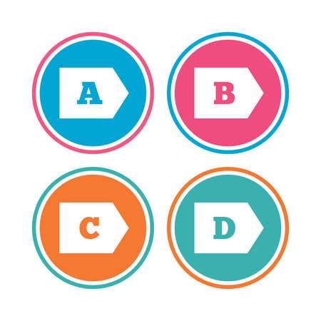 d mark: Energy efficiency class icons. Energy consumption sign symbols. Class A, B, C and D. Colored circle buttons. Vector