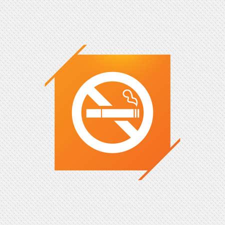 quit: No Smoking sign icon. Quit smoking. Cigarette symbol. Orange square label on pattern. Vector Illustration