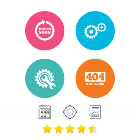 file not found: Coming soon rotate arrow icon. Repair service tool and gear symbols. Wrench sign. 404 Not found. Calendar, cogwheel and report linear icons. Star vote ranking. Vector