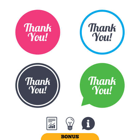 Thank you sign icon. Customer service symbol. Report document, information sign and light bulb icons. Vector Ilustração