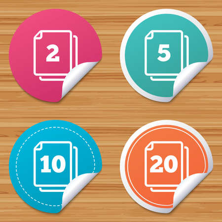 amount: Round stickers or website banners. In pack sheets icons. Quantity per package symbols. 2, 5, 10 and 20 paper units in the pack signs. Circle badges with bended corner. Vector